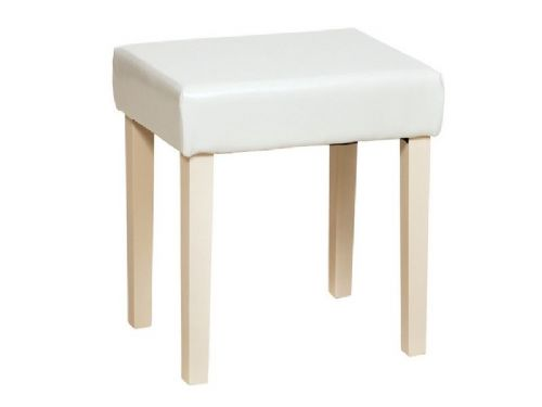 London Stool in Cream Leather and Cream Legs